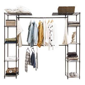 COSTWAY Kleiderstaender mit Ablagen, Garderobenstaender Metall, Haengeregal Kleider, Waeschestaender ausziehbar, Kleiderschrank mit Kleiderstange kaffeebraun
