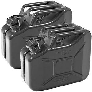 Oxid7® Metall Benzinkanister, pulverbeschichtet, schwarz 10 Liter - 2 Stück