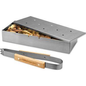Räucherbox Edelstahl Smokerbox Räucherbox Räucherdose inkl. Grillzange für Grill