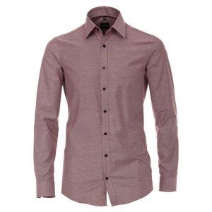 Größe 43 Venti Hemd Rot fein gestreift mit Besatz Popeline Langarm Modern Fit tailliert geschnitten Kentkragen 100% Baumwolle Bügelfrei