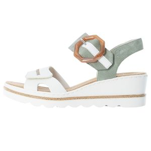 Rieker Damen Sandalen Sandaletten Keilabsatz 67476, Größe:38 EU, Farbe:Weiß