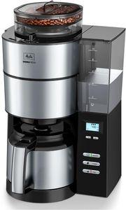 MELITTA 1021-12 Aroma Fresh Kaffeeautomat Thermo mit Timer und Mahlwerk, Farbe:Schwarz/Edelstahl