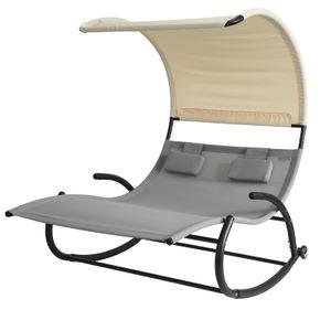 SoBuy OGS50-HG Schaukelliege für 2 Personen Sonnenliege mit Sonnendach Doppelliege Gartenbett mit Rollen Relaxliege Belastbarkeit 300 kg BHT ca: 140x180x184cm