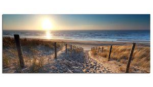 Glasbilder Wandbild AG312502080 Sand Weg zum Strand 125 x 50cm