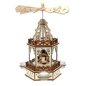 52 1677 Holz Teelichtpyramide 2 Etagen Schneemänner SIGRO