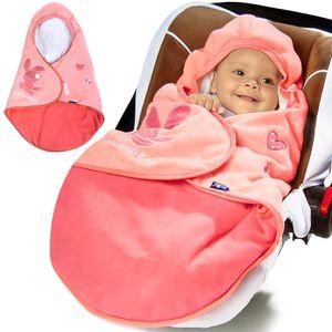 LUPILU Babyfußsack Einschlagdecke Kinderwagen Atmungsaktive Babydecke mit Motiv, Farbe:rosa