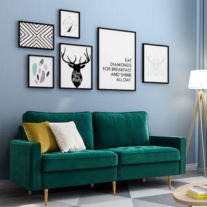 Tiema moderne 2-Sitzer-Sofa Klassische Sofas mit 2 dekorative Kissen Grün Samt Stoff Breite 180cm