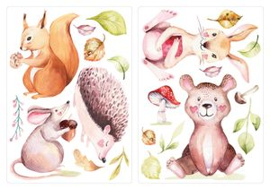 dekodino® Wandtattoo Kinderzimmer Aquarell Waldtiere mit niedlichen Gesichtern