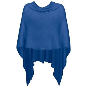 221 Mississhop Damen Poncho Cape Überwurf Strickjacke feiner weicher Strick Pullover Herbst Winter One Size Royalblau