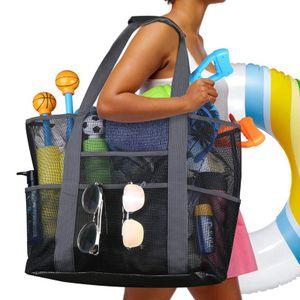 Große Mesh Beach Bag Strandtasche mit Reißverschluss & Taschen Wiederverwendbare Schulter Handtasche Urlaub Reise
