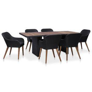 7-teiliges Outdoor-Essgarnitur Garten-Essgruppe Sitzgruppe Tisch + stuhl mit Auflagen Poly Rattan Schwarz