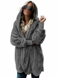 Plus Size Frauen Kapuze Cardigan Fuzzy Fleece Winter Open Front Kunstpelzmantel,Farbe:Dunkelgrau, Größe:5XL