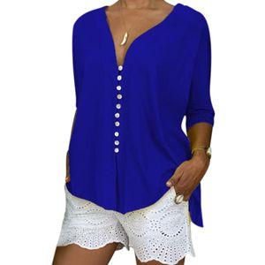 Damen T-Shirt mit V-Ausschnitt Knopf T-Shirt Loose Casual Lace Cuff Shirt,Farbe: Blau,Größe:M
