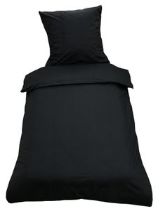2tlg Bettwäsche 135x200 Schwarz Uni Decke Kissen Bezug Set mit Reißverschluss