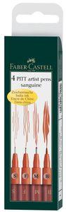 FABER-CASTELL Tuschestift PITT artist pen S, F, M, B rötel 4er Etui