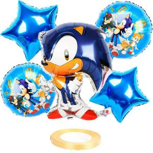 Sonic Luftballons Kinder Baby Geburtstag Deko Sonic the Hedgehog Party Ballons Motiv Folienballons Silber