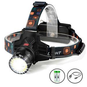 Profi LED Cree Stirnlampe Kopflampe T6 Wasserdicht Mega Leuchtweite 2x PowerAkku