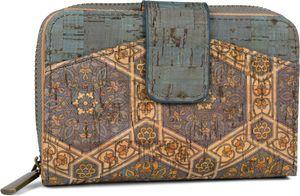 styleBREAKER Damen Geldbörse aus Kork mit buntem Ethno Ornamente Muster Print, Druckknopf, Reißverschluss, Portemonnaie 02040146, Farbe:Blau-Beige