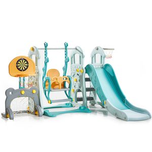 5 in 1 Spielturm Schaukel Rutsche Basketballkorb Fußballtor in einem Kinder Spielplatz indoor Spielhaus Set Kletterturm Kinderrutsche