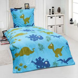 Top Kinder Microfaser Bettwäsche Hochwertig Bettbezug 135x200 +Kissenbezug 80x80 Dinosaurier T-Rex