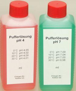 Lasama Pufferlösung / Eichlösung Set je 250 ml pH4 + pH7 Kalibrierlösung Kalibrierflüssigkeit