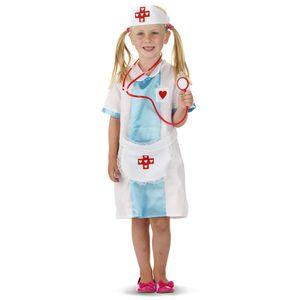 Kinder Krankenschwester Kostüm & Haube Größe: 122-134 (6-9Jahre)