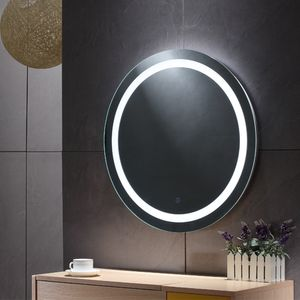 WYCTIN Badspiegel Rund LED Beleuchtung Badezimmerspiegel Bad Spiegel Anti-Fog 80*80*4.5cm