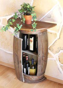 DanDiBo Wandtisch Tisch Weinregal Weinfass 0373-R Braun Schrank Fass aus Holz 73 cm Beistelltisch Konsole Wandkonsole Bar halbrund