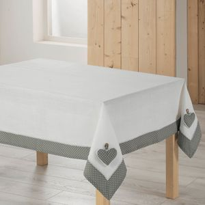 "Tischdecke ""Fanny"", Polyester, Grau/Weiß, Polyester, grau/weiß, 140 x 240 cm - Douceur d'intérieur"
