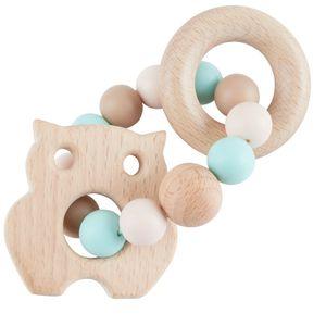 Bieco Beißring Baby mit Silikon Perlen Mint, 9 cm | ab 0 Monate | Zahnungshilfe Baby | Baby Greifling mit Holz Eule | Beissring Für Baby Zum Zahnen | Motorikspielzeug Baby | Beißring Silikon Baby