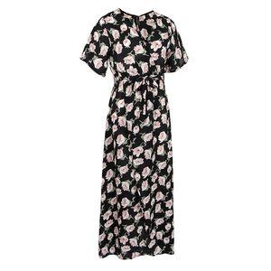 Frauen Blumen Split lange Kleider Strand Maxi Kleid Tee Kleid m Petunie Maxikleid