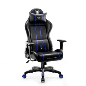 Diablo X-One 2.0 Gaming Stuhl Bürostuhl Schreibtischstuhl Verstellbare Armlehnen Ergonomisches Design Nacken/-Lendenkissen (Blau, Normal)