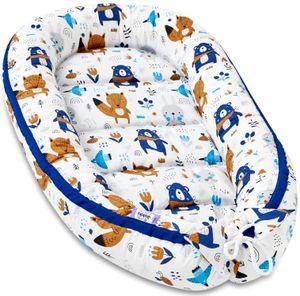 JUKKI® Baby Nestchen 90x50cm bis zu 9 Monaten ★ 2seitig [Waldtiere-Blau] Nestchen Babybett Reisebett Kokon Babynest Kuschelnest Nest