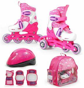 Kinder Mädchen 2in1 Inliner Rollschuhe VERSTELLBAR + Schutzausrüstung + Helm – ROSA Gr. 26-29
