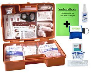 Erste-Hilfe-Koffer M2 PLUS für Betriebe DIN/EN 13157 inkl. Notfallbeatmungshilfe, Verbandbuch & Antisept-Hygiene-Spray