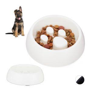 relaxdays 2x Anti Schling Napf Fressnapf Hundenapf langsames Fressen Futternapf Hunde weiß