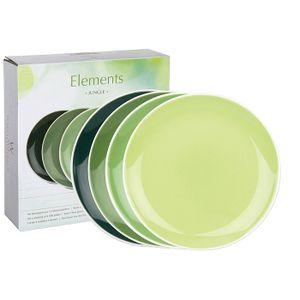 WAECHTERSBACH 41 5 973 1000 Elements Frühstücksteller Jungle, Bone China Porzellan, Ø 19 cm, grün (4er Pack)