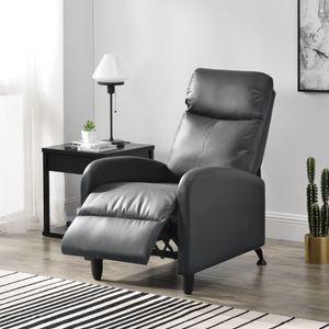 Polstersessel Bregenz Relaxsessel Relaxliege 102x60x92 cm Liegesessel Fernsehsessel Sessel mit verstellbarer Rückenlehne TV Sessel aus Kunstleder Grau [en.casa]