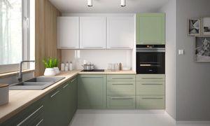 Küchenblock 245x240cm grau / signalweiß - blassgrün Matt lackiert Küchenzeile