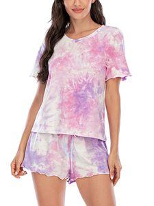 ydance Damen Tie Dye Kurzarm Pyjama Set T-Shirt Shorts Sommer Pyjama,Farbe: Lila,Größe:M