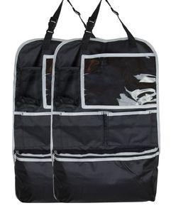 2er Set Rückenlehnenschutz mit Tabletfach, 64x41 cm, schwarz
