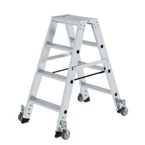 Günzburger Steigtechnik Stufen-Stehleiter beidseitig begehbar mit Rollen 2x4 Stufen