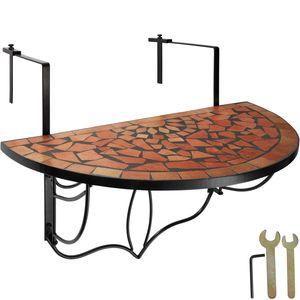 tectake Balkontisch Mosaik klappbar - terracotta