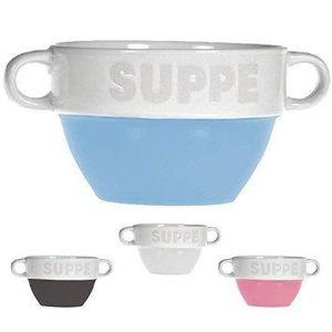 Suppentasse Suppen Tasse Suppenschüssel Schüssel Suppenterrine Landhaus (2 Stück, Grau)
