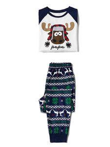 Passende Pyjamas der Weihnachtselchfamilie Set Tops + Hosen Jumpsuit Nachtwäsche Homewear,Farbe: Papa,Größe:L