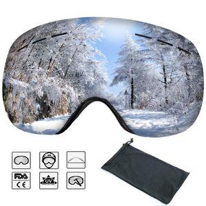 Skibrille Brillenträger für Damen und Herren Anti-Nebel UV-Schutz Zweilagige Anti-Fog PC Objektiv Austauschbare Sphärische Rahmenlose Linse Snowboardbrille Silber für Skifahren oder Skaten