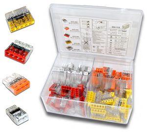 WAGO Box mit 130 Stück Verbindungsklemmen   Serie 2273 Steckklemme   Box Set Verbindungsklemme