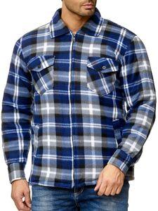 Herren Fleece Thermohemd Jacke Karierte Holzfäller Flanell Blouson Gefüttert mit Reißverschluss, Farben:Grau-Weiß, Größe Jacken:L
