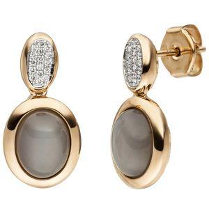 JOBO Ohrstecker 585 Gold Rotgold 2 Mondstein Cabochons 32 Diamanten Brillanten