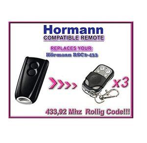 3 x Hörmann RSC2–433/Hormann RSC2–433 Kompatibel Fernbedienungen, Ersatz 433,92 MHz, 3 Stück
